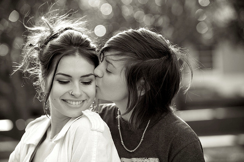 Black and white lesbians kissing