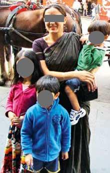 Krishnabhavna with her three children