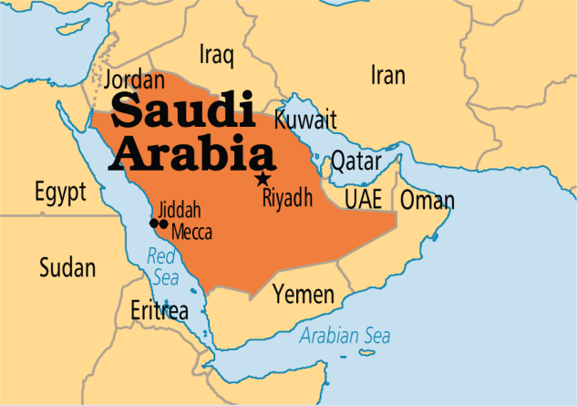 Arab Saudi peta