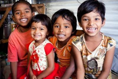 Cheerful Rural Indian Children